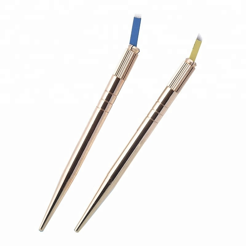 Single Side Metal Color Heavy Stainless Steel Tattoo Manual Pen For Eyebrow Shaping And Microblading